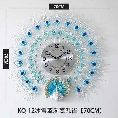 Round colorful  peacock clock image 1