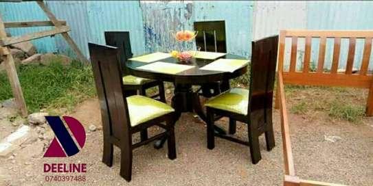 5 Piece Mahogany Framed Dining Table Sets. image 7