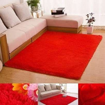 Fluffy Smooth Carpet For Living Room- Red image 1