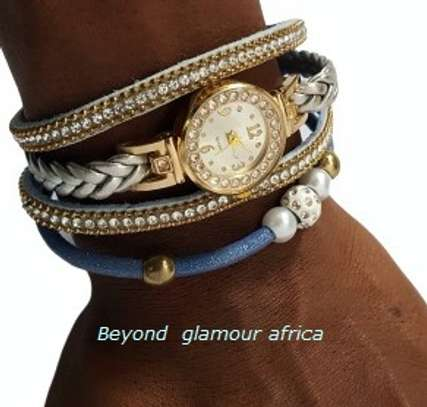 Blue Leather Watch Bracelet image 1