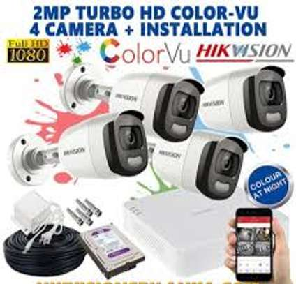 4 CCTV 2MP ColorVu camera complete package + INSTALLATION image 1