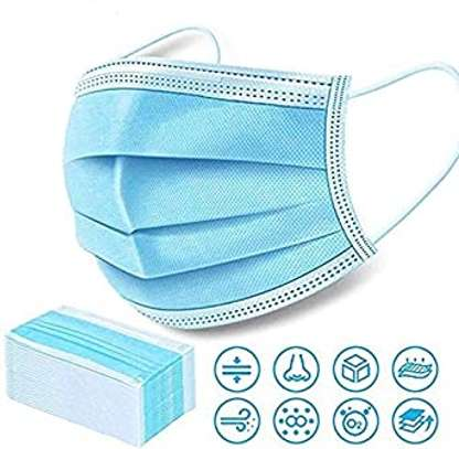 DISPOSABLE 3 LAYER SURGICAL MASKS WITH NOSE CLIP (50PCS PACK)