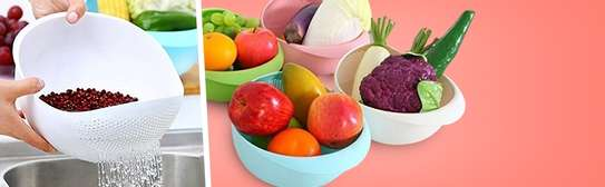 Multipurpose Plastic Washing Bowl & Strainer (Standard Size) image 2