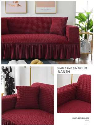 Turkish stretchable maroon sofa cover 5seater image 1