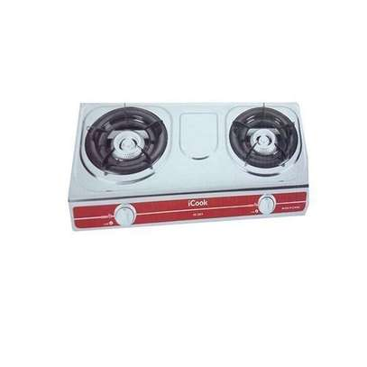 2 Burner Gas Cooker- Stainless Steel- Silver image 2