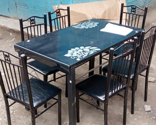Black dining table with 6 chairs image 1