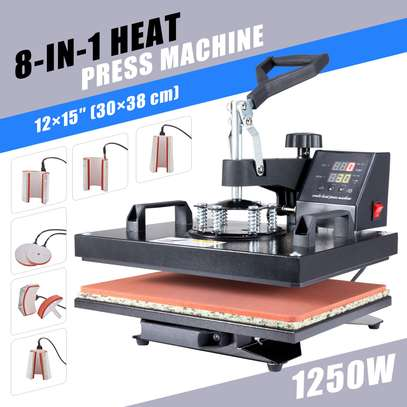 8-in-1 Heat Pad T Shirt Press Professional Swing-Away Heat Press Machine image 1