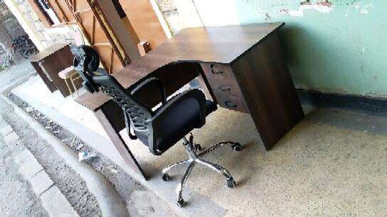 L shape desk and chair. image 1