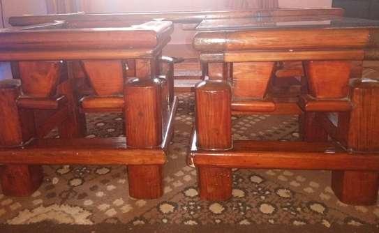 Pure Mahogany Coffee Table and 2 Stools image 2