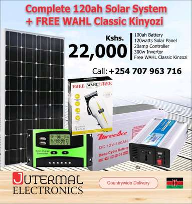 120wts solar, 100ah battery, 10 controller, inverter and FREE WAHL KINYOZI image 1