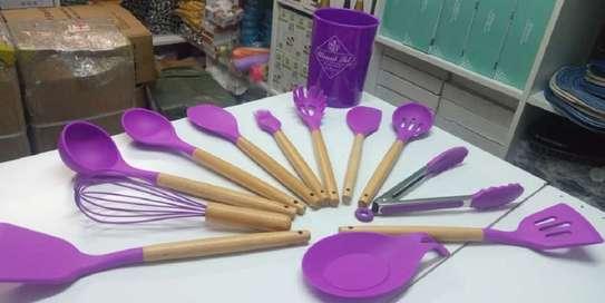 silicone kitchen utensils-red,purple,grey , greenand black