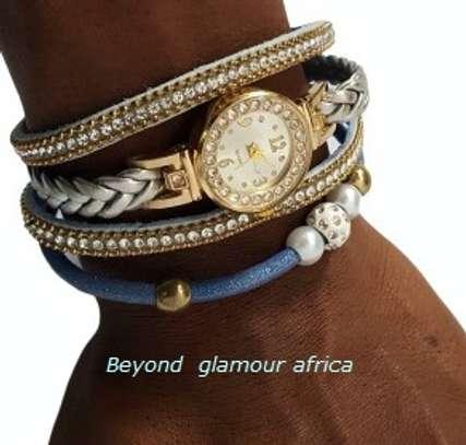Blue Leather Watch Bracelet