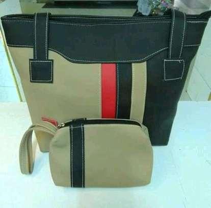 Fashion tote handbag with stripes image 1