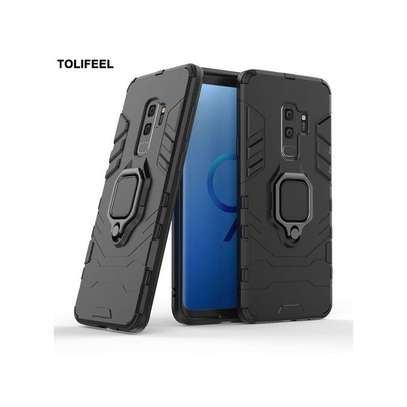 Galaxy S9 Phone Case Soft Silicone Case For Samsung Galaxy Magnetic Finger Ring Case Cover Armor Back Coque-Navy image 3