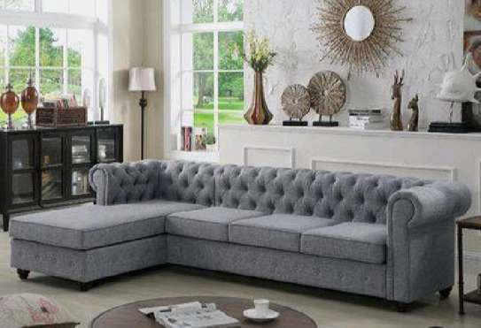 Five seater chesterfield sofas/L shaped sofas/grey sofas image 1