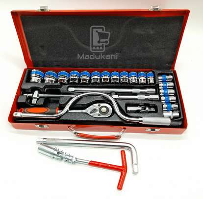 24PCS half-inch DR Socket Wrench Set with Extra L Handle and 16mm Plug Spanner image 1
