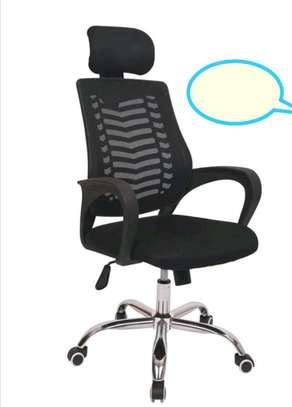Height adjustable headrest office chair image 1