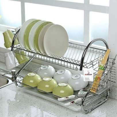 Dish Rack 2 Layer, Stainless Steel, INCLUDES Cutlery Holder and Drain Board
