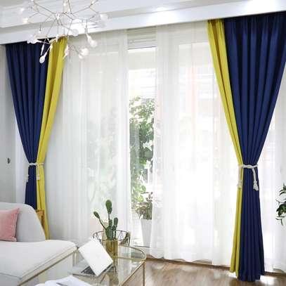 Navy Blue yellow Theme Curtain image 1