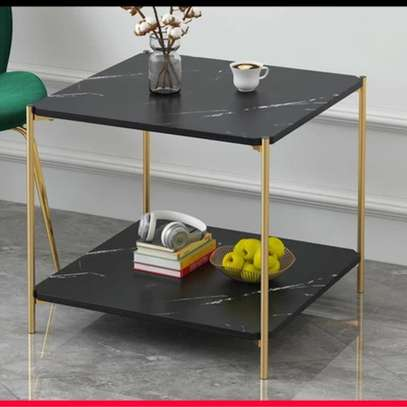 Marble effect side table image 1