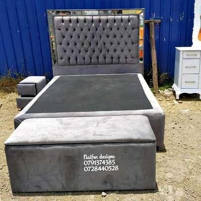 Modern bedset/bed/dresser/drawer/storage puff/grey bedset/tufted beds/modern Mirrored bedset designs image 4