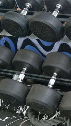 Fixed rubber coated dumbbells