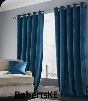 blue linen curtain image 1