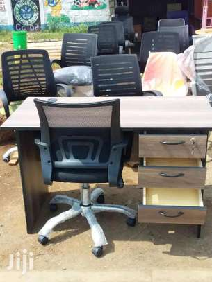 Office desk with drawers plus an adjustable height office chair with backrest image 1