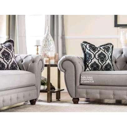 Three seater sofa plus two seater sofa/complete set of sofa/beige sofas/modern sofas/tufted sofas image 2