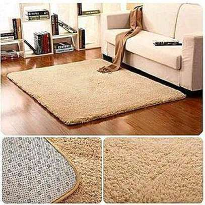 Fluffy living room carpet(5*8) colors brown,blue and green image 1