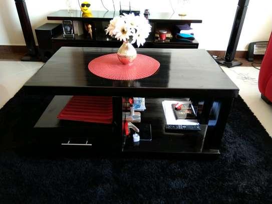 Modern Black Wood Coffee Table image 1