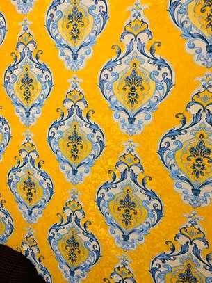 wallpaper flowery  yellow print image 1