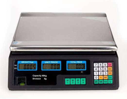 ACS-30 40kg/5g Digital Price Computing Scale for Vegetable US Plug Silver & Black image 1