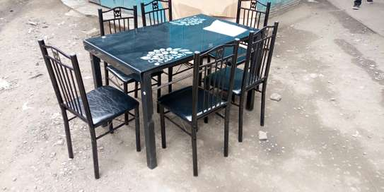 2021 hot selling home stainless steel frame dining table with chairs image 1