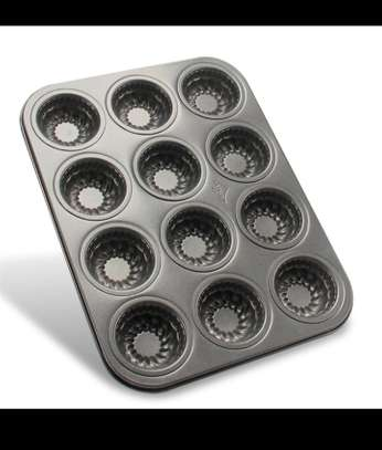 12 Cups Shell Shaped Muffin Cupcake Baking Trays image 1