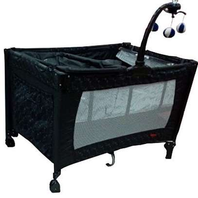 Superior baby playpen bed baby crib with changing table- Black image 1