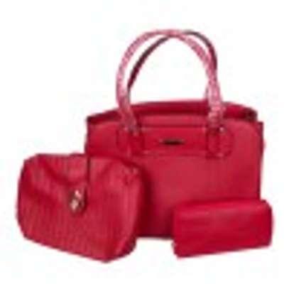 Stylish 3 piece Red Hand Bag image 1