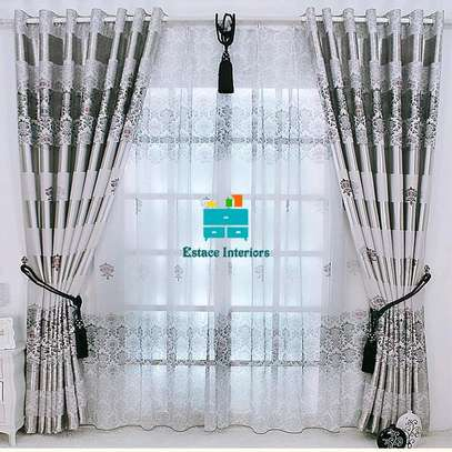 GREY BEAUTIFUL CURTAINS WITH SHEERS image 1