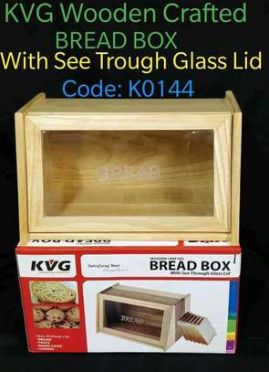 Wooden Bread Box*Wooden with Glass Lid*