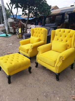 2 pcs Beautiful Modern Quality Wingback Chairs + Footrest