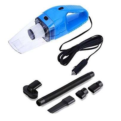 Handheld Car Vacuum Cleaner 120W, 12V Portable Mini Wet/Dry Auto Vehicle Vacuum Dust Buster With 16.4FT (5M) Power Cord With Lighter, 4000PA Suction High Power Hand Vac (Blue And White) - Generic image 1