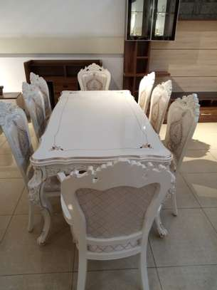 Decorated Glass 8 Seater Dining Table image 1