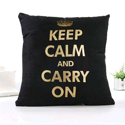 GOLD AND BLACK BRANDED THROW PILLOWS image 1