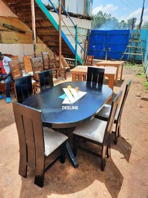 Black oval 6 seater dining table sets image 3