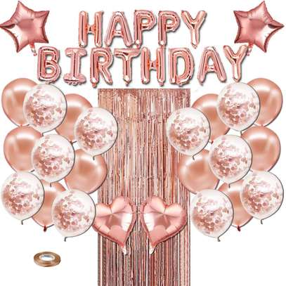 Falliny Rose Gold Happy Birthday Balloons, Party Decoration Happy Birthday Banner with Confetti Balloons and Foil Fringe Curtain for Women Girl Birthday Party image 1