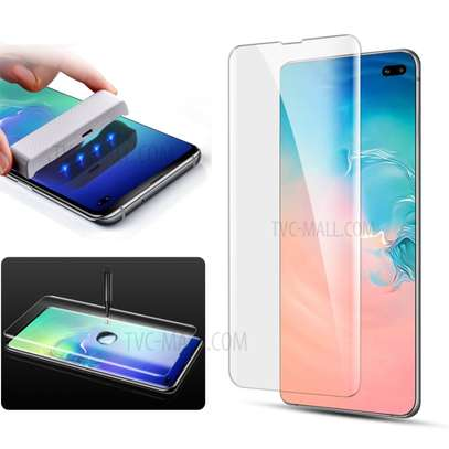 UV Light adhesive tempered glass screen protector for Galaxy S10,S10e and S10 Plus + LED Kit image 1