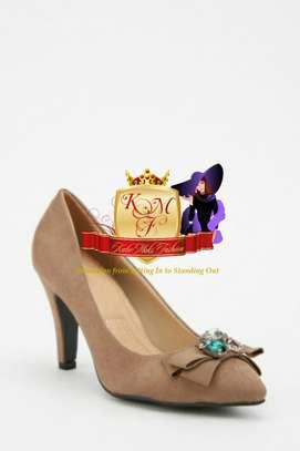 Gem Encrusted Suedette Court Heels image 1