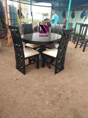 Black 4 Seater Dining Table. image 14