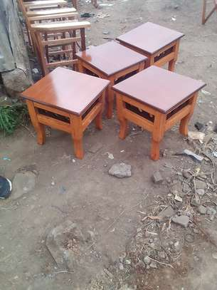 4 stools mahogany wood image 1
