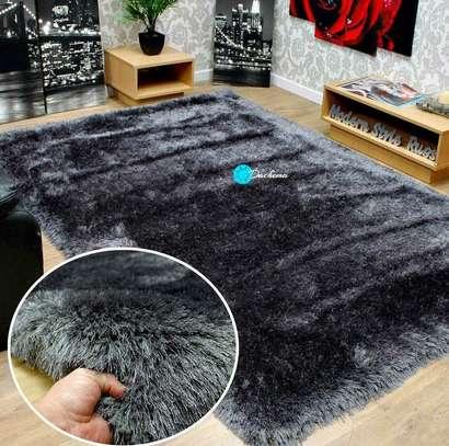 7*8 grey fluffy soft carpet image 1